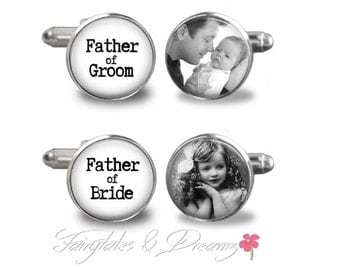 Father of Groom/Bride Photo Cufflinks- Mens Cuff Links- Cufflinks- Wedding- Groom - Fathers Day- Birthday- Gifts for Him - UK