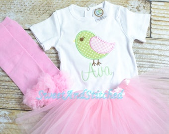 Baby girl Newborn outfit girl bird and name, monogram newborn gown, baby girl take home outfit bird, baby girl birdie gown or bodysuit