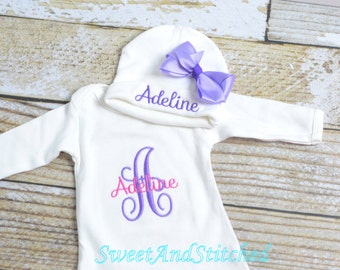 Personalized newborn gown pink and purple, monogrammed baby girl outfit!  baby girl take home outfit, pink and purple newborn outfit