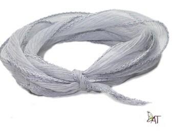 100% Silk Crinkle Ribbon- Hand Dyed - PLATIN
