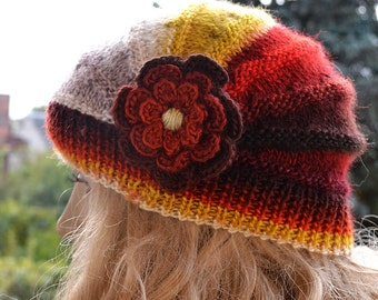 Knitted autumn, rainbow cap with flower, hat, lovely warm, autumn accessories,  women clothing, Knit Hat Womens, women hats