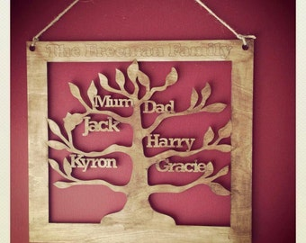 wooden family tree personalised 30cm square perfect mothers day gift