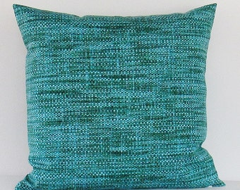 Teal Turquoise Outdoor Pillow Cover Decorative Throw Accent Patio Porch Sunroom Pillow 16x16 18x18 12x16 12x18 Lumbar Green Zipper