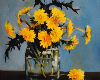 Bright and Cheerful Yellow Dandelions in a Glass Jar- Summer Flower Bouquet Original Floral Oil Painting