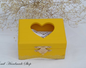 Ring Box, Ring Holder, Wedding Ring Bearer, Yellow Ring Pillow