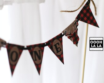 MADE TO ORDER Lumberjack Buffalo Plaid and Burlap Cake Bunting with Image and Personalized