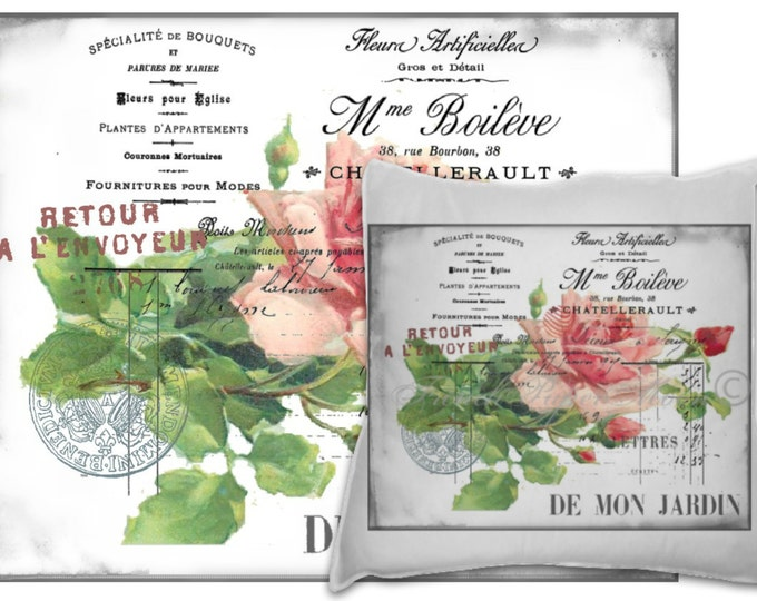 Digital Download Vintage French Roses, Shabby French Roses, French Pillow Image, French Typography