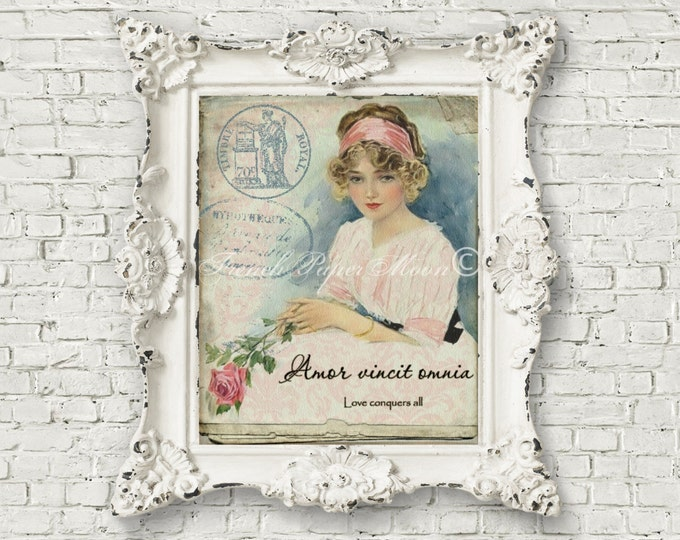 French Shabby Chic Vintage Girl, Roses, French Graphics, French Pillow Graphic Transfer Image