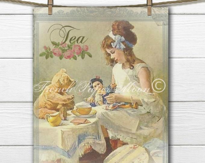 Instant Digital Download, Vintage Tea Party, Teddy Bear Tea Party, Printable Nursery Decor, Teatime Pillow Transfer