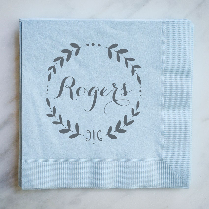 personalized wedding napkins with wreath custom wedding