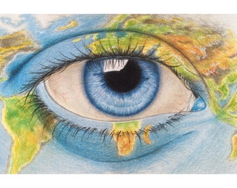 Original eye drawing - colored pencil drawing ,realistic eye drawing , eye painting , wall decor