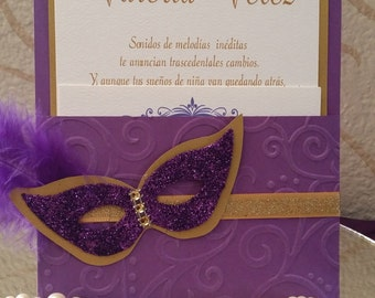Beautiful Quinceañera Masquerade invitations