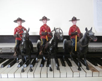 Set of Three, Vintage, Mounted, Royal Canadian Police, Mounties on Horseback