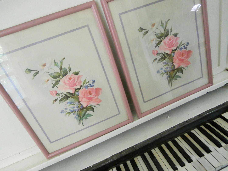 Pair Vintage Prints Pink Wood Frame Pink Rose Bouquet