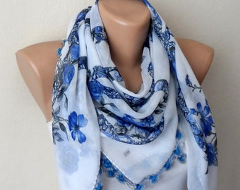 white blue scarf floral print scarf women accessories trendy scarf yemeni scarf oya scarf accesories gifts for her