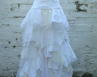 Tattered wedding skirt, bridal skirt, shredded long skirt, ivory maxi skirt, white skirt, repurposed wedding skirt