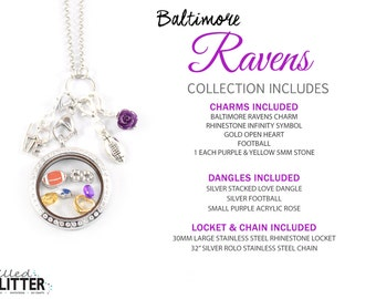 Baltimore Ravens Style Football Season Floating Locket Charm Collection or Charm for Magnetic Floating Charm Memory Lockets