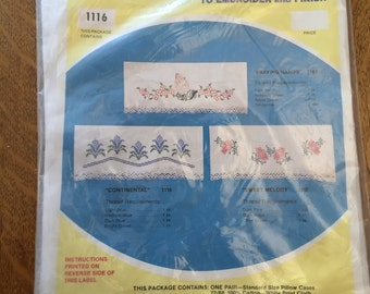 Stamped Cotton Pillowcases to Embroider, Pair Unopened Package Wonder Art  Pattern Needlework