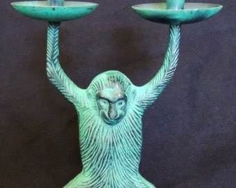 Old heavy metal monkey double candle holder!  Fun!! Clever!!  Great conversation piece!!!