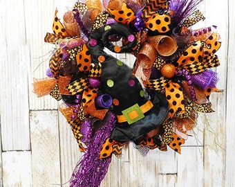 Halloween Witch Deco Mesh Front Door Wreath with Witch Hat and Witch Broom