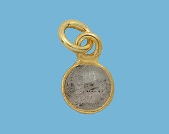 1 ea. Tiny 6mm Labradorite and Vermeil Bezel Pendant. 24k Gold Over Sterling Silver with 5mm Jump Ring Birthstone
