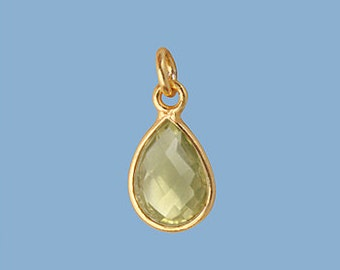 1ea. Small 10x7mm Lemon Topaz and Vermeil Pear Bezel Pendant. 24k Gold Over Sterling Silver with 5mm Jump Ring Birthstone