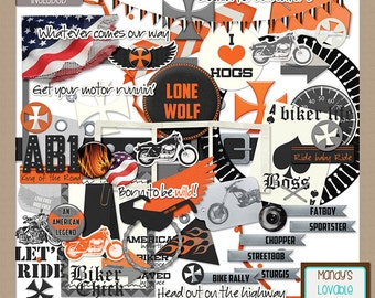 Ride Free Motorcycle Theme Elements Graphics - Digital Scrapbooking, Cardmaking, Crafts, Web Blog Design Supplies - High Quality