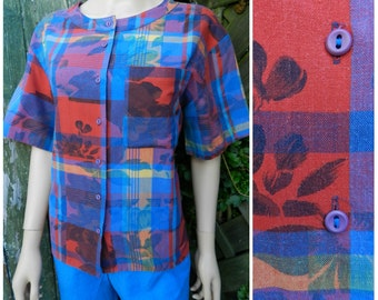 80's COTTON geometric artsy Hawaiian floral short sleeved shirt blouse red + blue ROSES u.k. 14 - 16 M