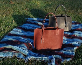 Large Leather Tote - Everyday tote bag