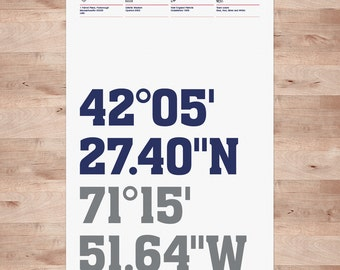New England Patriots Football Posters, Stadium Coordinates - Typography Wall Art Print