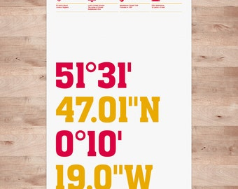 Lord's Cricket Ground, Coordinates Typography Wall Art Print