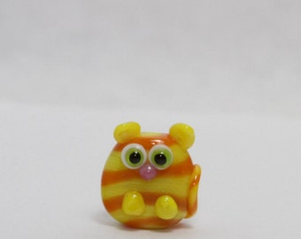 Glass Cat Lampwork Focal Bead. Yellow and Orange stripes