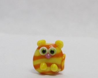 Glass Cat Lampwork Focal Bead. Yellow and Orange stripes