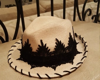 Palm Fedora Hat with Vintage Lacey Band and hand lacedblack suede brim