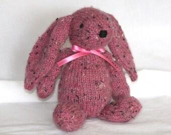 Hand Knit Bunny Rabbit Tweed Alpaca Stuffed Mini Pink Rustic handmade