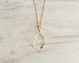 Wishbone necklace, skinny wishbone necklace, dainty wishbone necklace, layering necklace