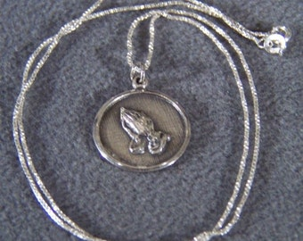 Vintage Sterling Silver Religious Figural Fancy Etched Poem Pendant Charm Necklace Chain Box