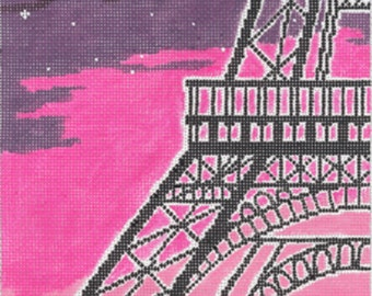 Handpainted Needlepoint Eiffel TOWER 18 Hours in PARIS Machelle Somerville   -Free US Shipping!!!