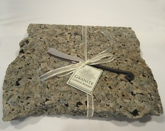 Granite Cheese Board, Gray and black mix, Medium size, with wrought iron style cheese knife