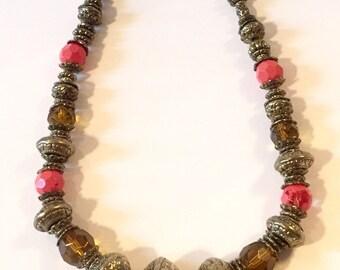 SALE!!//Vintage Large Beaded Statement Necklace, Vintage Brass Tone Jewelry, Heavy!