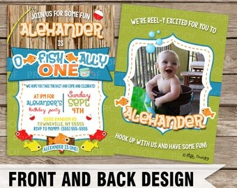 Custom Fishing Themed First Birthday Invitation [Front & Back Design Available]