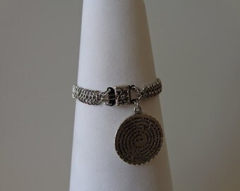Silver Charm Chain Bracelet, Silver Chainmaille Bracelet, Pave Charm Bracelet, Medieval Jewelry