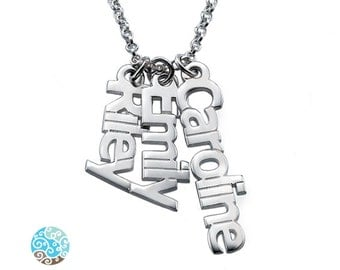Vertical Name Necklace in Sterling Silver - Personalized