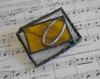 Vintage Stained Glass Abstract Brooch