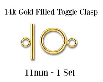 Gold Filled Toggle Clasp 11mm,  Wholesale - Jewelry Findings - 1 Set - Necklace Clasp - Bracelet Clasp - Gold Findings
