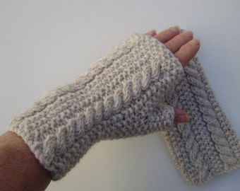 Cream Hand Knit Fingerless Gloves.Handwarmers  with Cables. Ready to Ship.