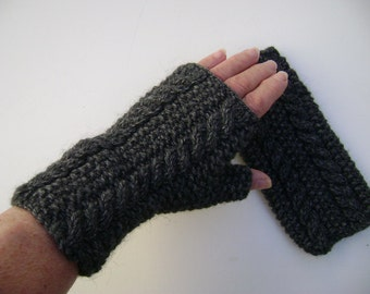 Charcoal Grey Hand Knit Fingerless Gloves.Handwarmers  with Cables. Ready to Ship.