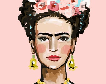 Frida Kahlo Print, roses, 8 x 10, 11x14, 16x20, 24 x 30, 30 x 40