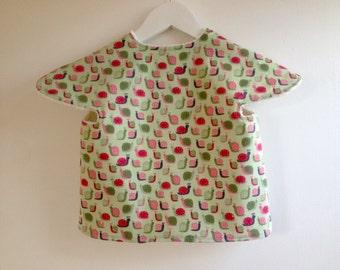 BIB-APRON, baby feeding bib, cover all, toddler bib, art apron, from 6 months, snails, green pink, terrycloth