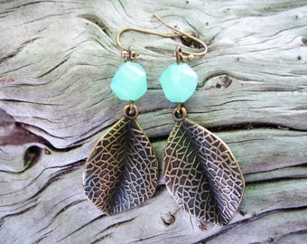 Bronze leaf and green faceted milk glass earrings Nature earrings Leaf earrings